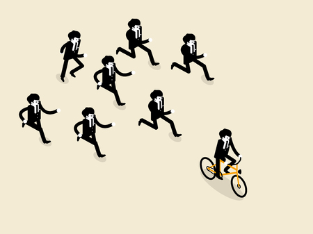 those: beautiful concept design of business success in isometric style, business man biking bicycle is ahead of the group of business man those are running follow