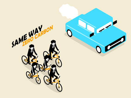 way: beautiful concept design of zero carbon emission from cycling in isometric style Illustration