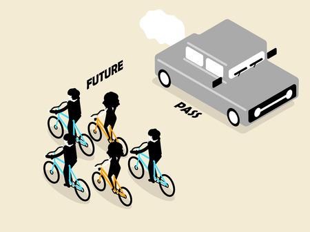 carbon monoxide: beautiful concept design of future transportation which no pollution and zero carbon Illustration