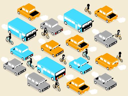 road design: beautiful isometric design of vehicle car and bicycle on the road,on the road design concept Illustration