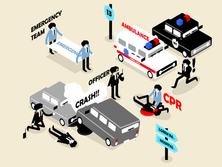 beautiful isometric style concept design of emergency situation scene; car crash, CPR performing and police officer