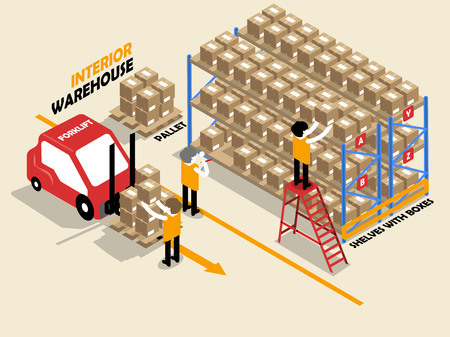 beautiful isometric design of interior warehouse ,shelves ,boxes,ladder, pallet and fofklift Vettoriali