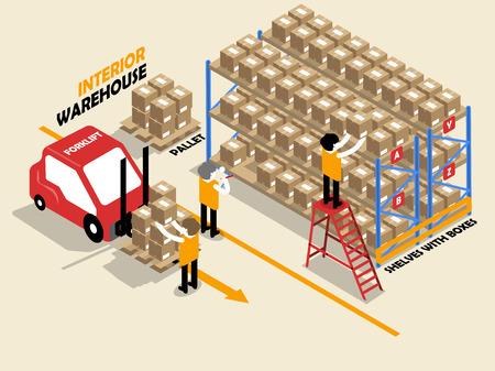 escaleras: hermoso diseño de interiores isométrica de almacén, estantes, cajas, escalera, plataforma y fofklift