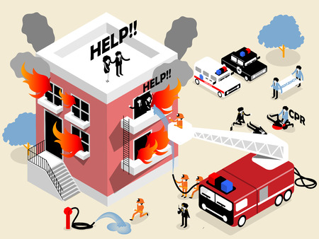 building fire: isometric design of firefighters fighting building on fire and rescuing woman and man who stuck in there,firefighters career concept design