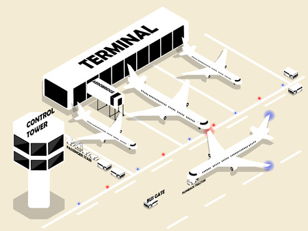 towers: beautiful isometric style of airport with air plans, terminal, aerobridge, control tower and airport transport. Isometric airport building. Airport building with runway. Public transport. Illustration