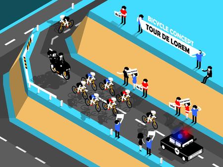 cycling race: beautiful isometric design of cycling race on the mountain, cycling race design concept