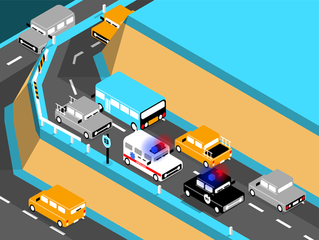 crowded street: beautiful isometric design of car on the road,driving car on the mountain, ambulance and police car stuck in traffic.