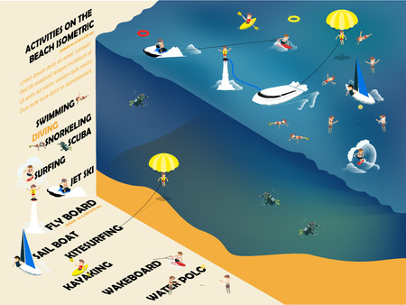 diving board: beautiful isometric graphic design of summer activities on the beach such as swimming, jet ski, kayak, sailboat, flyboard, kitesurfing, wakeboard and diving,design concept of summer Illustration