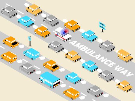 beautiful isometric design of ambulance on the traffic,ambulance on the road concept,ambulance way