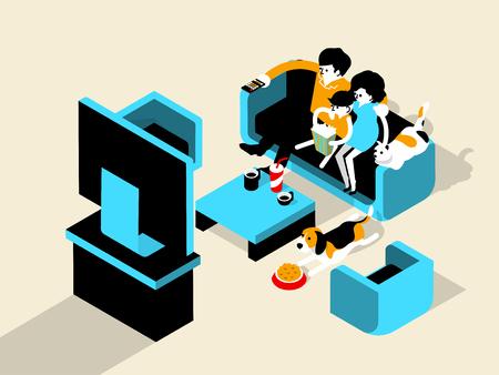 mujer con perro: hermoso diseño gráfico isométrica de la felicidad de la familia viendo la televisión (TV) y comiendo palomitas de maíz con las mascotas perros y gatos, felicidad pareja del concepto de diseño gráfico