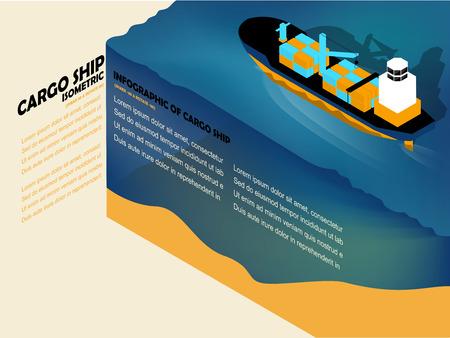 negocios internacionales: hermoso información isométrica diseño gráfico del buque de carga en el mar con el espacio de la copia Vectores