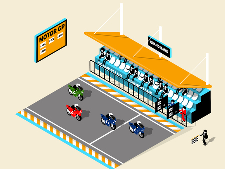 grandstand: beautiful design isometric of motor-sport motorcycle on racing track, grandstand,motor-bike; motor-bike isometric design