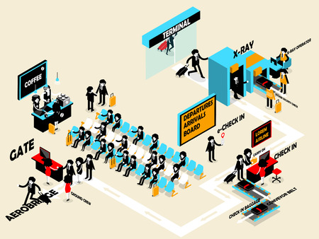 economy class: beautiful isometric design of people passenger and aviation personnel in airport terminal departure