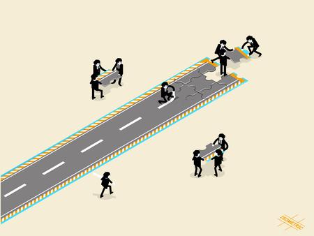mooi isometrische grafisch ontwerp concept van zakelijke teamwork, mensen uit het bedrijfsleven plaatsen puzzelstuk voor de bouw van het succes weg, business teamwork concept Vector Illustratie