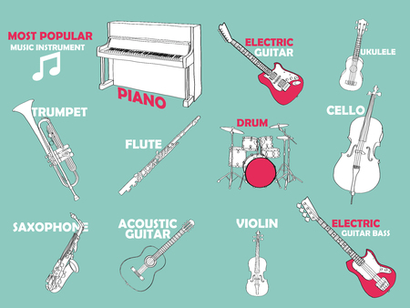 bass drum: beautiful illustration free hand drawing of most popular music instrument;piano,electric guitar, akulele, trumpet, flute, drum, cello, saxophone, acoustic guitar, violin, electric guitar bass