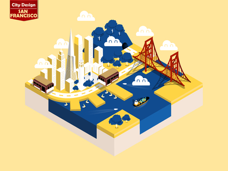 beautiful isometric style design concept of San Francisco city, America ,San Francisco landmark isometric design concept