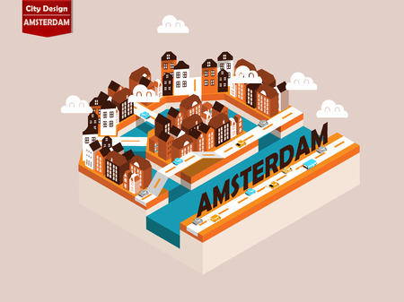 amsterdam canal: beautiful isometric style design concept of Amsterdam city, Netherlands, Amsterdam landmark isometric design concept Illustration