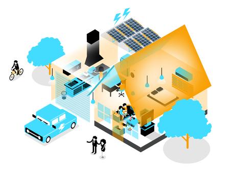 Beautiful isometric design of energy efficient home