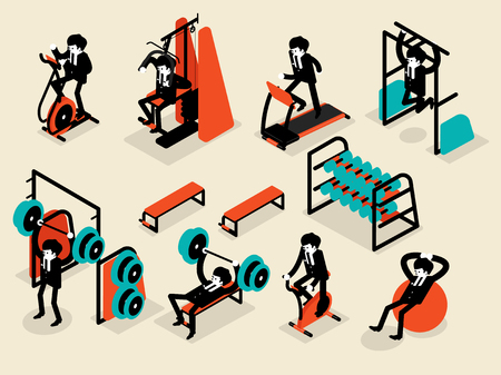 gym workout: beautiful isometric flat design of business man workout in gym, workout machine isometric design concept