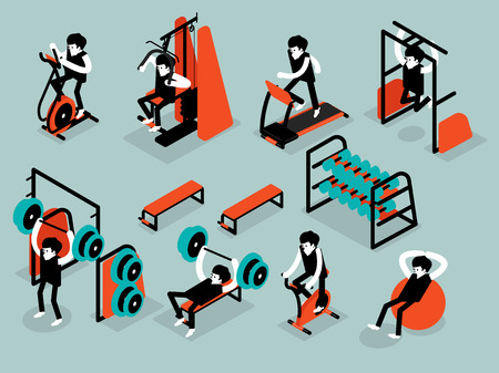 trainers: beautiful isometric flat design of man workout in gym, workout machine isometric design concept Illustration