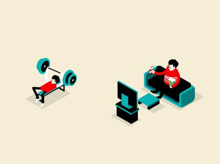 malos habitos: ilustración isométrica del concepto de estilo de vida saludable