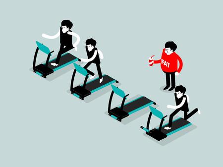 habitos saludables: ilustración isométrica del concepto de estilo de vida saludable
