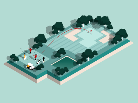 beautiful isometric design of golfers are playing in golf course, graphic design of golf course