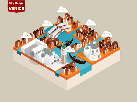 venezia: beautiful isometric style design concept of venice city, italy ,the famous city of the world isometric design concept