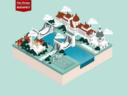beautiful isometric style design concept of budapest city, hungary ,the famous city of the world isometric design concept Ilustracja