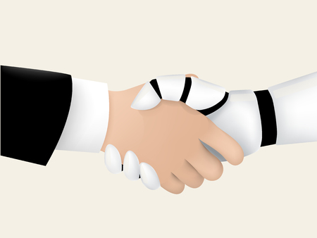 businessman shaking hand with intelligent robot, intelligent robot technology human friendly graphic design concept Ilustracja
