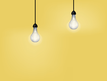 beautiful graphic design of light bulb on yellow background with copy space Ilustração