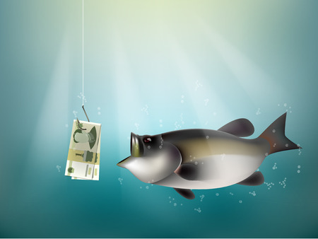 Chinese yuan money paper on fish hook, fishing using Chinese yuan cash as bait, China investment risk concept idea