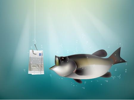 cash money: European union money paper on fish hook, fishing using European union cash as bait, European union investment risk concept idea Illustration