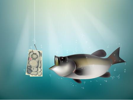和紙円お金魚にフック、釣り餌、日本投資リスク概念のアイデアとして、日本円現金を使用して