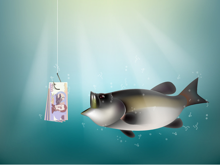 dupe: Chilean peso money paper on fish hook, fishing using Chilean peso money cash as bait, Chile investment risk concept idea