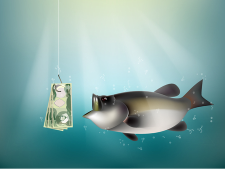 dupe: Iraqi dinar money paper on fish hook, fishing using Iraqi dinar money cash as bait, Iraq investment risk concept idea