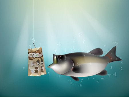 dupe: canada dollars money paper on fish hook, fishing using canada dollars money cash as bait, canada investment risk concept idea Illustration
