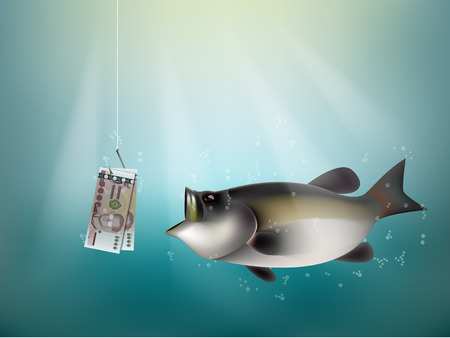 dupe: thai baht money paper on fish hook, fishing using thai baht money cash as bait, thailand investment risk concept idea