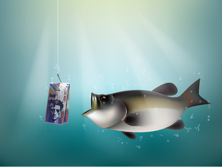 dupe: swiss franc paper on fish hook, fishing using swiss franc money cash as bait, switzerland investment risk concept idea Illustration