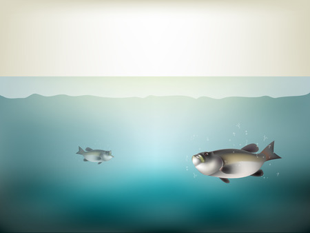 beautiful realistic graphic design of fish into the sea under water