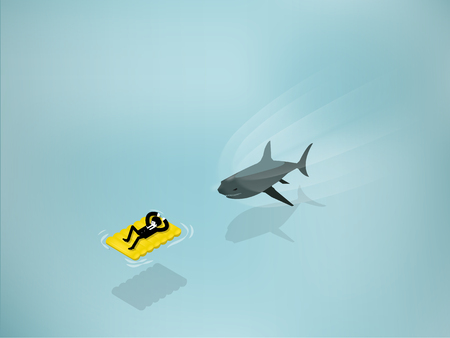 business risk: isometric illustration of Shark Attack business man laying on yellow float from the ocean water. Business shark risk and hidden power concept.