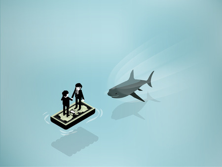 dangerous work: isometric illustration of Shark Attack business man standing on dollar float from the ocean water. Business shark risk and hidden power concept.
