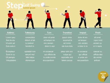 golf swing: beautiful infographic flat design of the step of golf swing with copy space