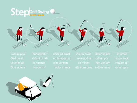 beautiful info graphic isometric design of the step of golf swing with copy space, golf swing info graphic design concept