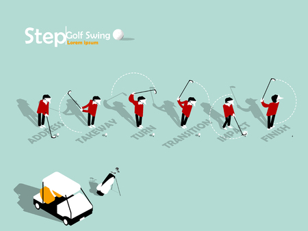 beautiful info graphic isometric design of the step of golf swing with copy space, golf swing info graphic design concept 矢量图像