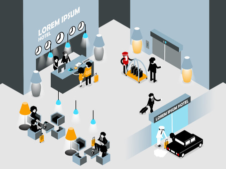 hotel lobby: beautiful isometric graphic interior design of hotel lobby,hotel reception