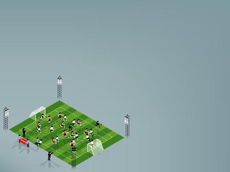 jugadores de futbol: beautiful isometric graphic design illustration vector of football player are playing football soccer at football soccer stadium with copy space,football soccer copy space graphic design concept