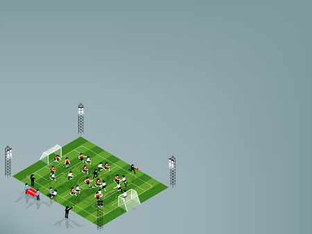 jugadores de futbol: hermosa isométrica diseño gráfico ilustración vectorial de jugador de fútbol están jugando al fútbol de fútbol en el estadio de fútbol de fútbol con copia espacio, fútbol fútbol copia espacio concepto de diseño gráfico