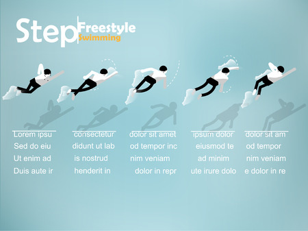 beautiful info graphic isometric design of the step of freestyle swimming with copy space, freestyle swimming info graphic design concept