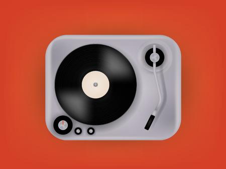 vinyl record: graphic design vector of gramophone vinyl record on record player phonograph, realistic retro design, vector art image illustration, music design concept